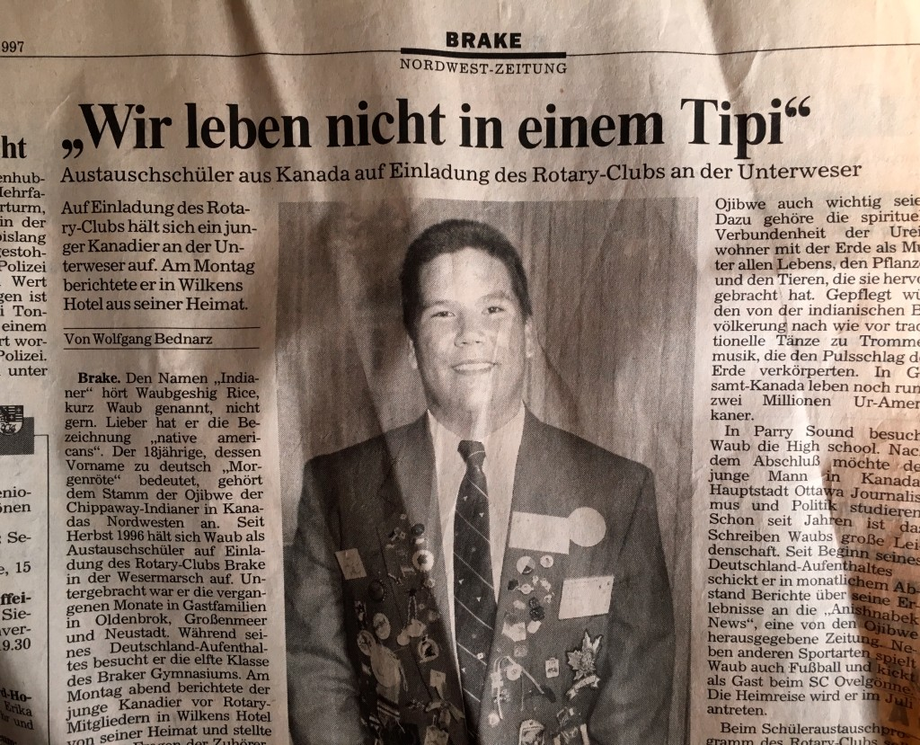 """We don't live in a tipi"" - article in the Nordwest Zeitung newspaper following my speech (in German) to the Rotary Club of Brake in May 1997."