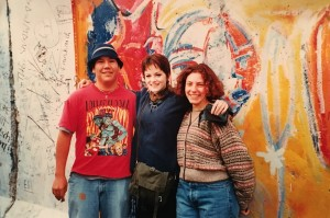 At the Berlin Wall in November 1996 with fellow exchange students Lisa Hill and Jen Ottawa